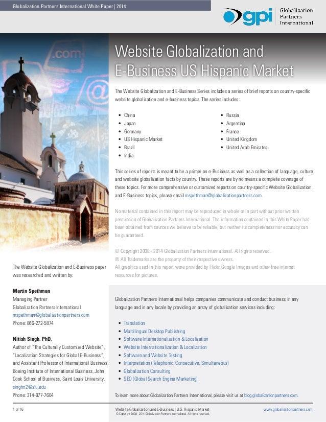Globalization Partners International White Paper   2014  Website Globalization and E-Business US Hispanic Market The Websi...