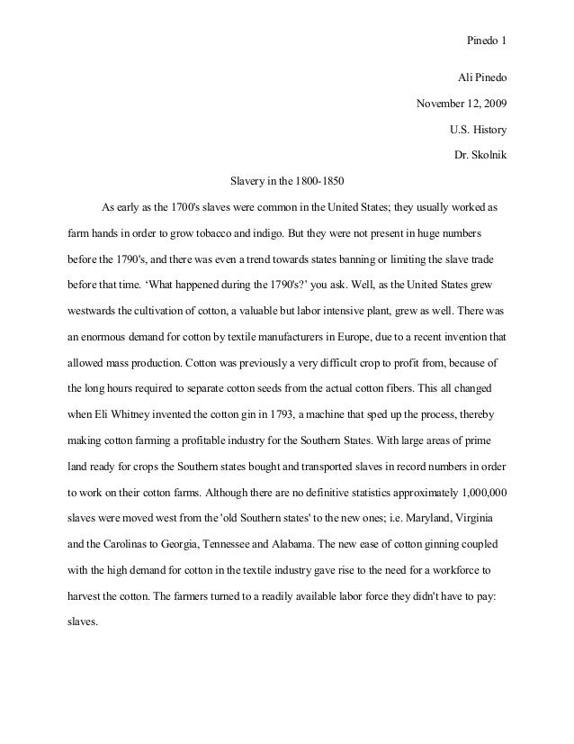 Slavery in the American south - Essay Example