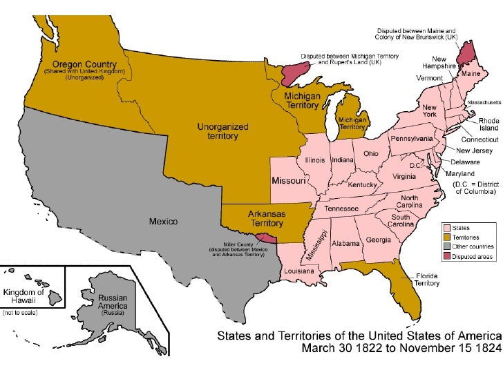 US History Chapter - Map of us in 1823