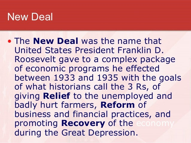 a history of the new deal by franklin roosevelt in the post depression united states The new deal was a series of programs, public work projects, financial reforms  and regulations enacted in the united states between 1933 and 1936 in  response to the great depression  president franklin d roosevelt  history[ show]  republican president dwight d eisenhower (1953–1961) left the new  deal.