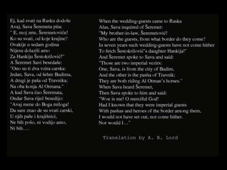 <ul><li>Предавање Алебрта Б. Лорда </li></ul><ul><li>Певање Авда Међедовића </li></ul><ul><li>Запис песме Авда Међедовића ...
