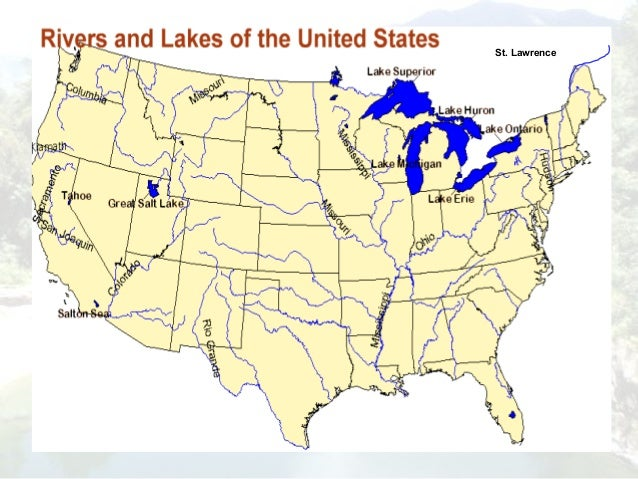Usic Rivers Ppt - Us map with states and rivers