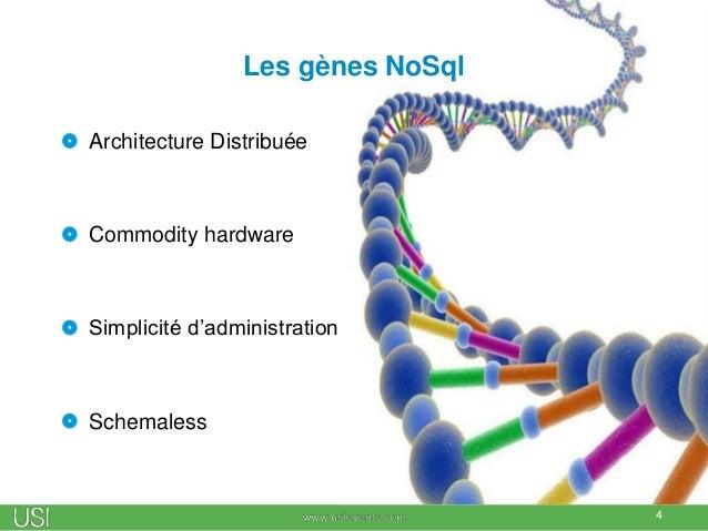 Les gènes NoSql Architecture Distribuée Commodity hardware Simplicité d'administration Schemaless 4