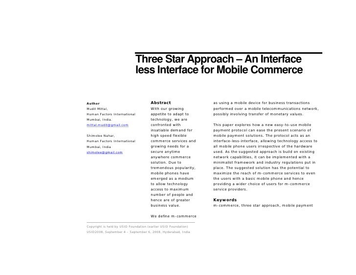 Three Star Approach – An Interface                               less Interface for Mobile Commerce                       ...