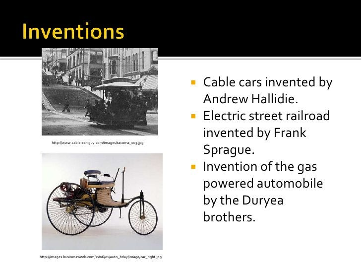 Inventions<br />Telephone service developed by Alexander Graham Bell.<br />Typewriter invented by Christopher Sholes.  <br...