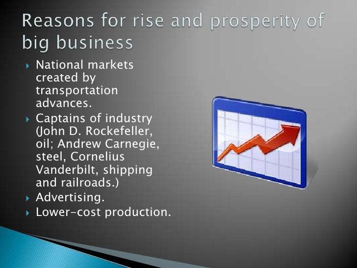 National markets created by transportation advances.<br />Captains of industry (John D. Rockefeller, oil; Andrew Carnegie,...