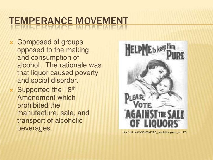 Temperance Movement<br />Composed of groups opposed to the making and consumption of alcohol.  The rationale was that liqu...