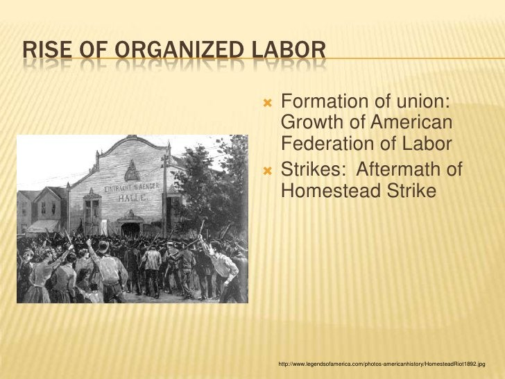 Rise of Organized Labor<br />Formation of union:  Growth of American Federation of Labor<br />Strikes:  Aftermath of Homes...