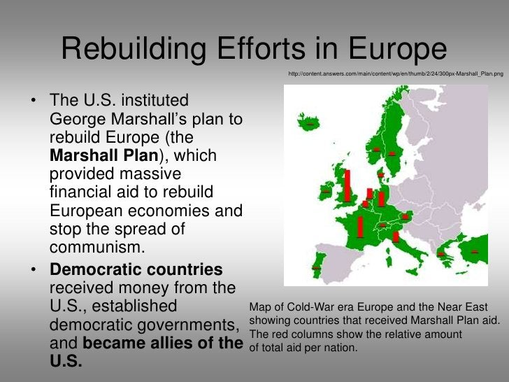 Rebuilding Efforts in Europe<br />http://content.answers.com/main/content/wp/en/thumb/2/24/300px-Marshall_Plan.png<br />Th...
