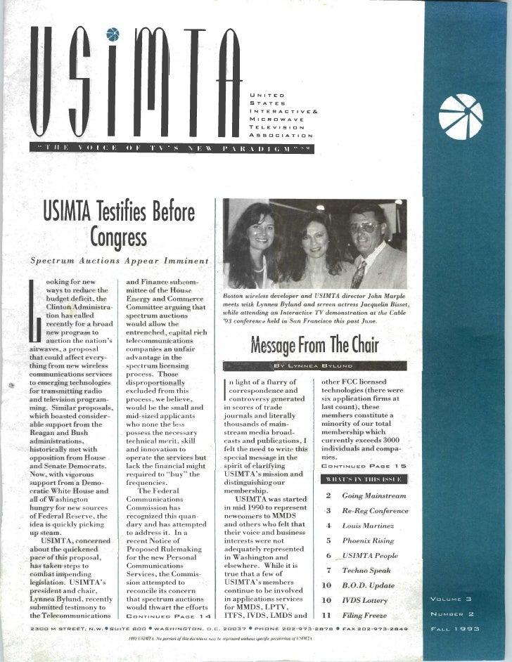 USIMTA NEWSLETTER FALL 1993