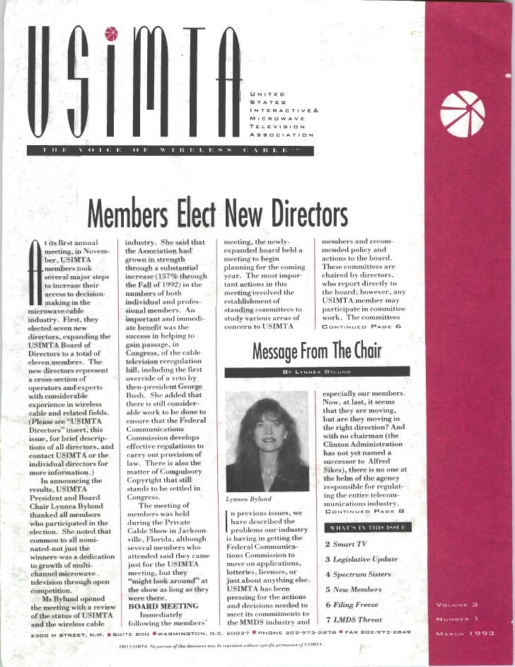 USIMTA NEWSLETTER SPRING 1993