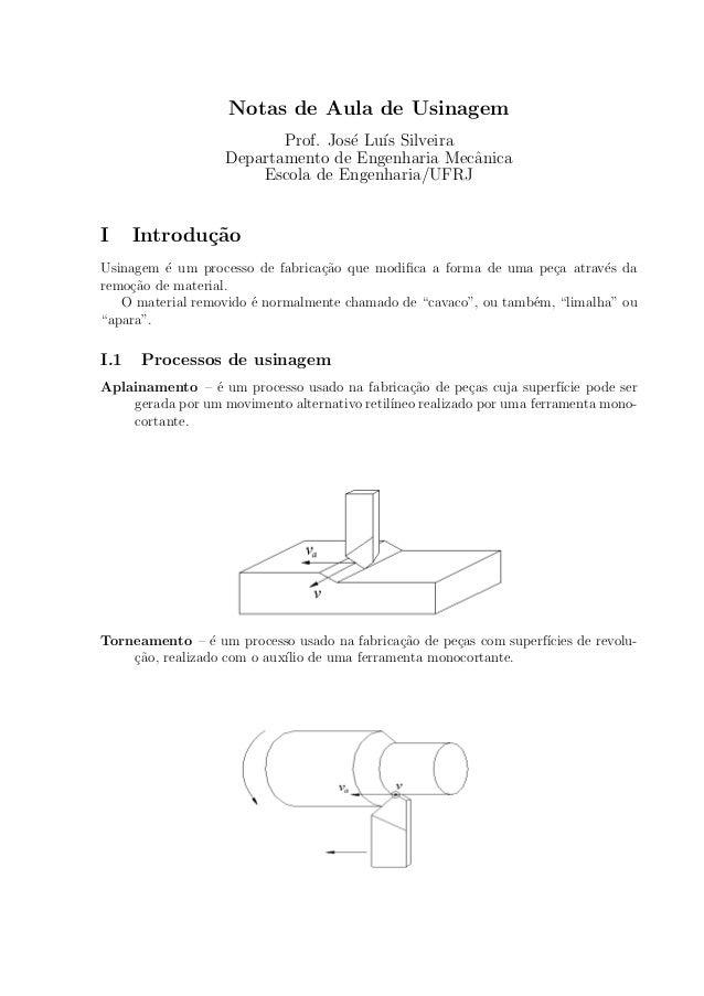 Notas de Aula de Usinagem  Prof. Jos¶e Lu¶³s Silveira  Departamento de Engenharia Mec^anica  Escola de Engenharia/UFRJ  I ...