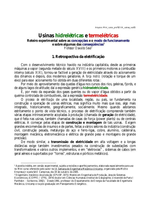 Arquivo: Mini_curso_profSEVA_usinas_out05 Usinas hidrelétricas e termelétricas Roteiro experimental sobre as concepções e ...