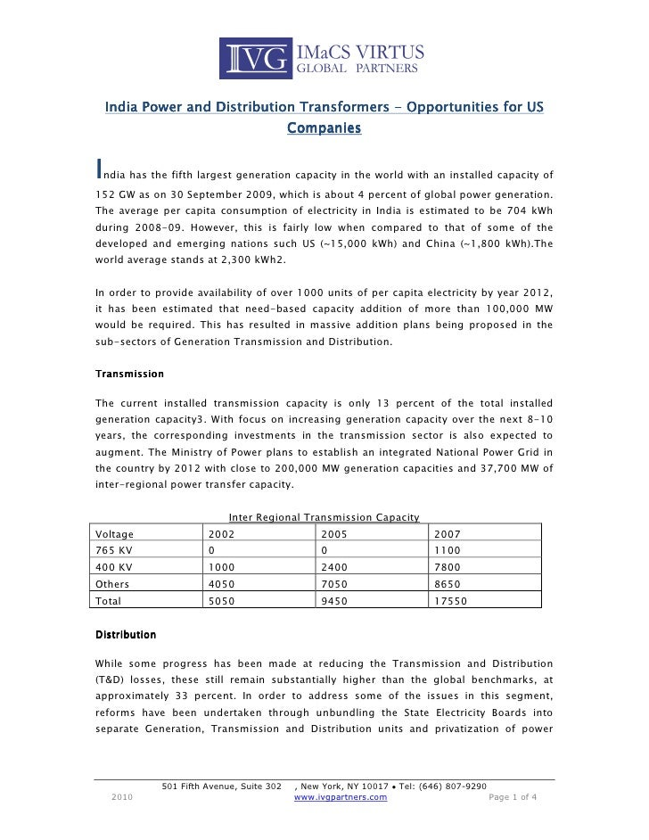 India Power and Distribution Transformers Market - Opportunities for US Companies