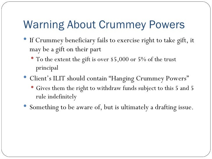 sample crummey letter using an ilit in estate planning