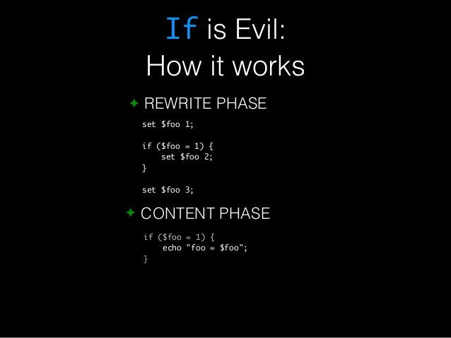 If is Evil:  How it works  ✦ REWRITE PHASE  set $foo 1;  if ($foo = 1) {  set $foo 2;  }  set $foo 3;  ✦ CONTENT PHASE  if...