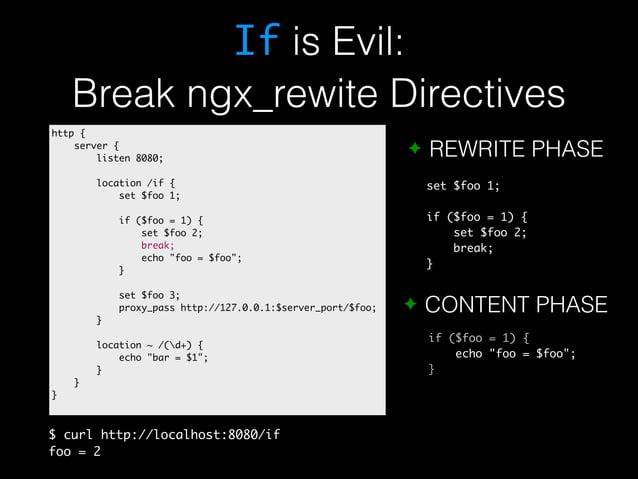 If is Evil:  Break ngx_rewite Directives  ✦ REWRITE PHASE  set $foo 1;  if ($foo = 1) {  set $foo 2;  break;  }  ✦ CONTENT...