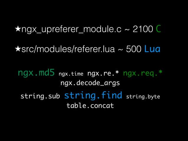 ★ngx_upreferer_module.c ~ 2100 C  ★src/modules/referer.lua ~ 500 Lua  ngx.md5 ngx.time ngx.re.* ngx.req.*  ngx.decode_args...