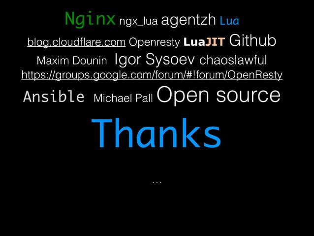 Nginx ngx_lua agentzh Lua  blog.cloudflare.com Openresty LuaJIT Github  Maxim Dounin Igor Sysoev chaoslawful  https://grou...