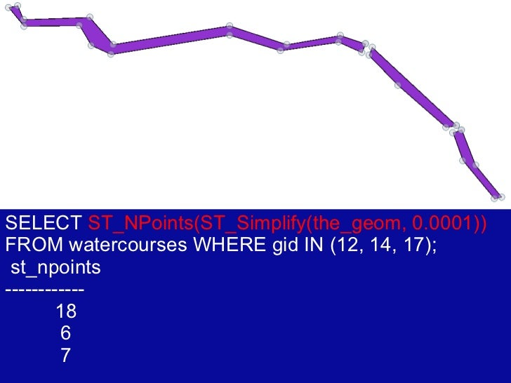 SELECT  ST_NPoints(ST_Simplify(the_geom, 0.0001))  FROM watercourses WHERE gid IN (12, 14, 17); st_npoints ------------ 18...