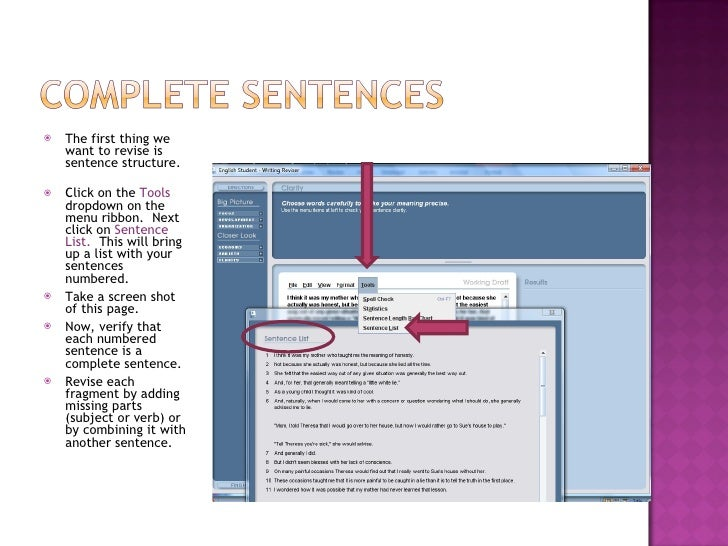 <ul><li>The first thing we want to revise is sentence structure.  </li></ul><ul><li>Click on the  Tools  dropdown on the m...