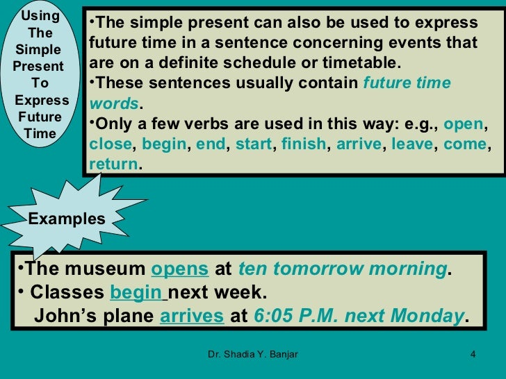 Using The Simple Present And The Present Progressive To Express Futu