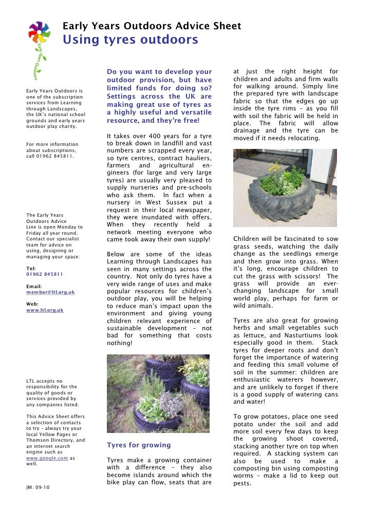 Early Years Outdoors Advice Sheet               Using tyres outdoors                           Do you want to develop your...