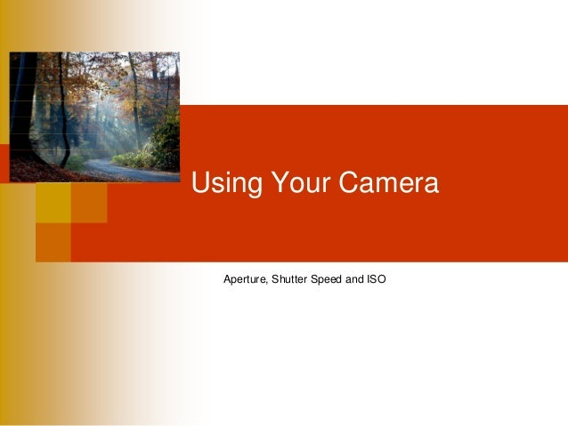 Using Your CameraAperture, Shutter Speed and ISO