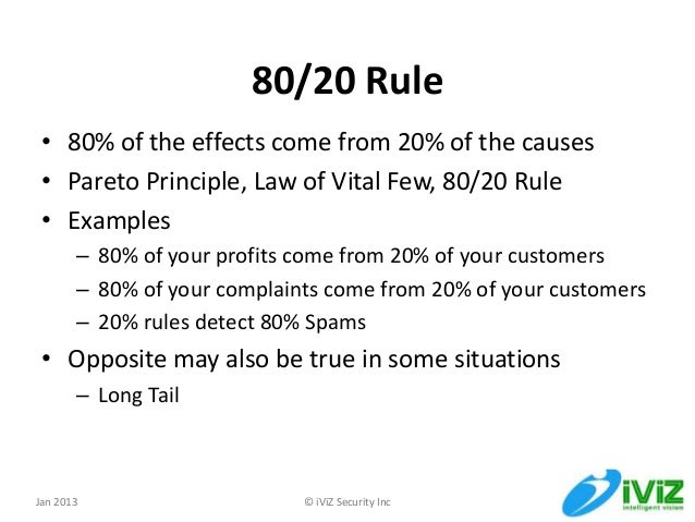 Using 80 20 Rule In Application Security Management
