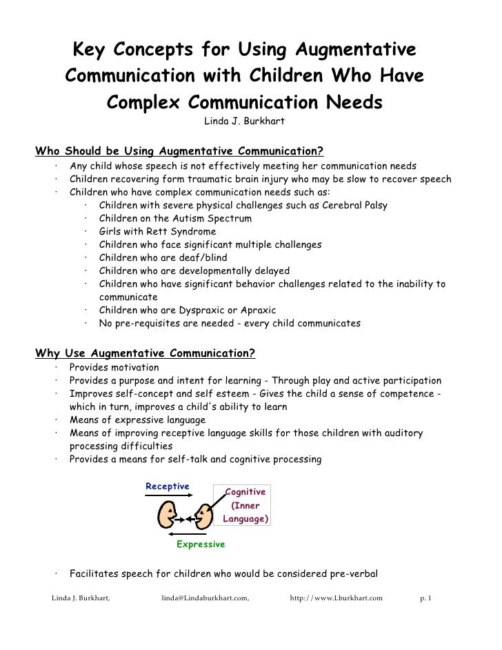Key Concepts for Using Augmentative       Communication with Children Who Have           Complex Communication Needs      ...