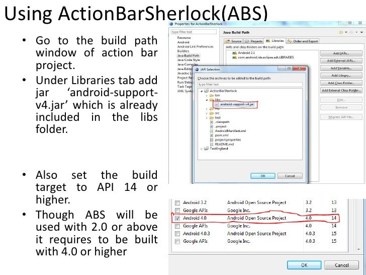 how to add android action bar