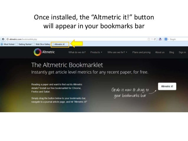 """Once installed, the """"Altmetric it!"""" button will appear in your bookmarks bar"""