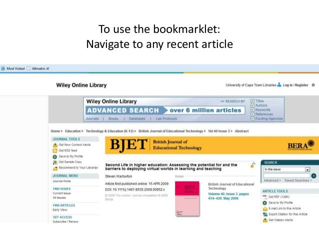 To use the bookmarklet: Navigate to any recent article