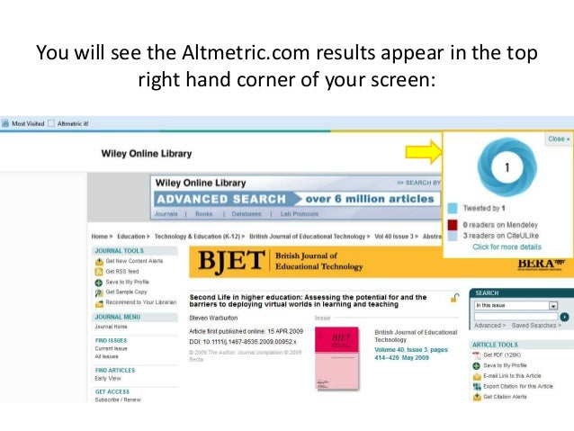 You will see the Altmetric.com results appear in the top right hand corner of your screen: