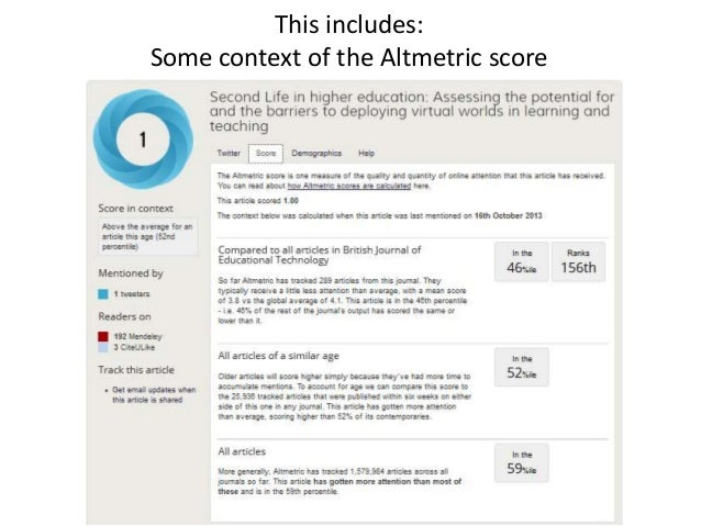 This includes: Some context of the Altmetric score