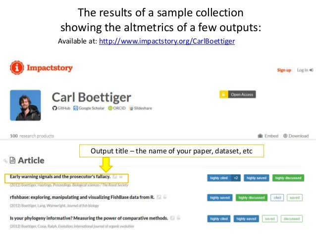 To see the altmetrics for each article, you can view the results by clicking on the output title or the altmetrics summary...