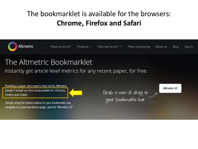 The bookmarklet is available for the browsers: Chrome, Firefox and Safari