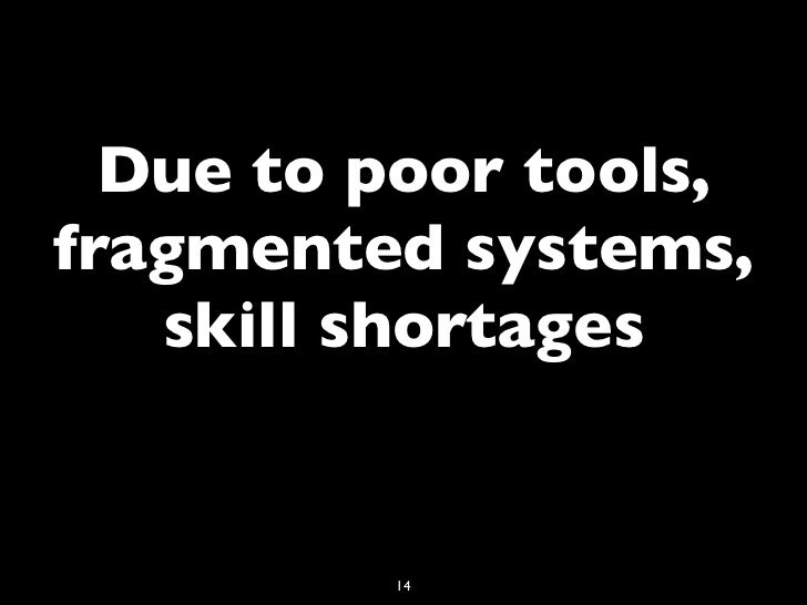 Due to poor tools,fragmented systems,   skill shortages         14