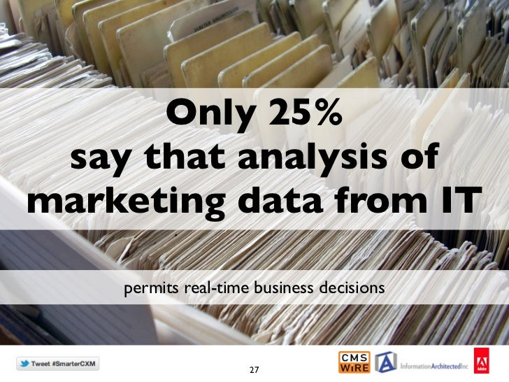 Only 25% say that analysis ofmarketing data from IT    permits real-time business decisions                     27