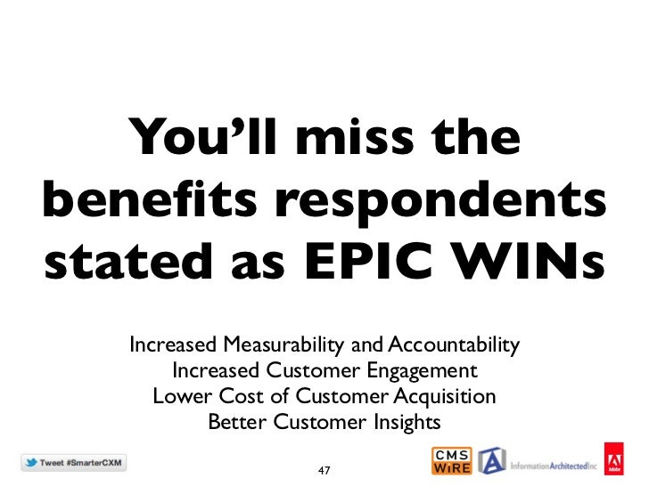 You'll miss thebenefits respondentsstated as EPIC WINs  Increased Measurability and Accountability       Increased Customer...