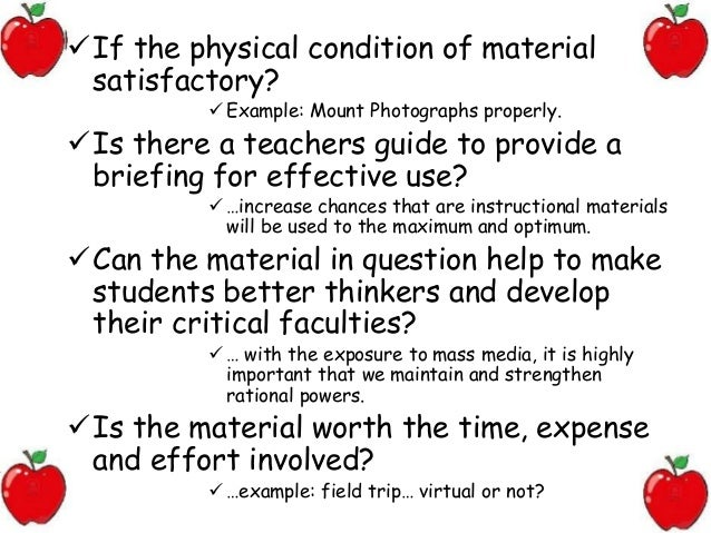 Effective practices for evaluation instructional materials