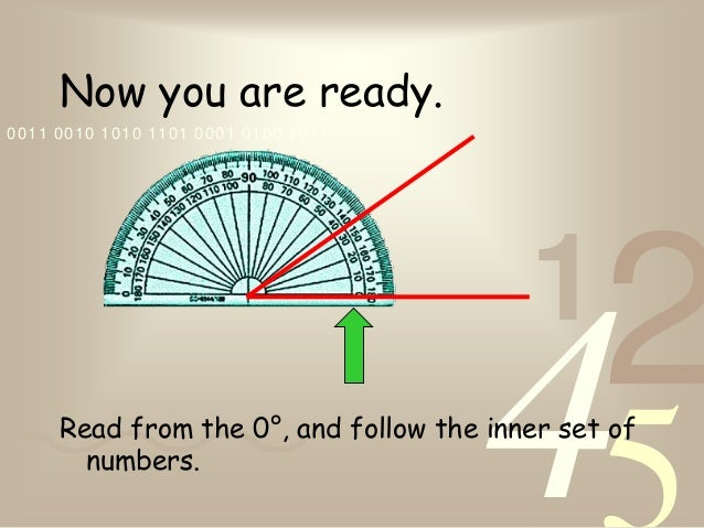 4210011 0010 1010 1101 0001 0100 1011Now you are ready.Read from the 0°, and follow the inner set ofnumbers.