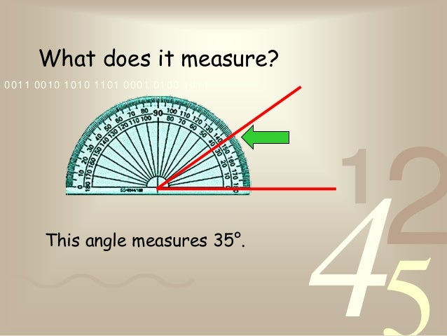 4210011 0010 1010 1101 0001 0100 1011What does it measure?This angle measures 35°.