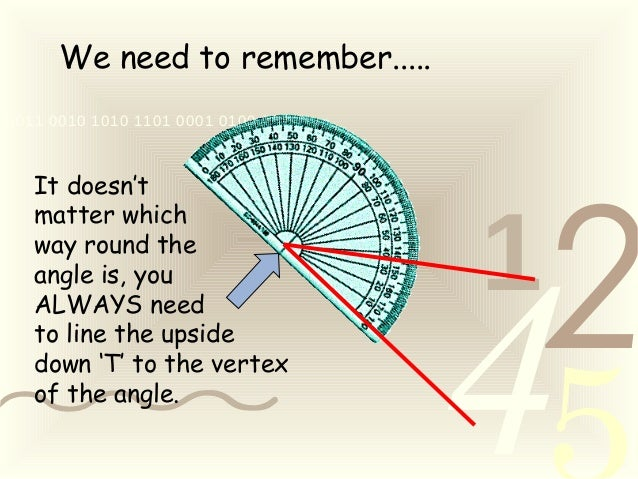 421 0011 0010 1010 1101 0001 0100 1011 We need to remember..... It doesn't matter which way round the angle is, you ALWAYS...