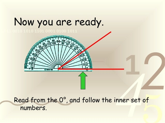 421 0011 0010 1010 1101 0001 0100 1011 Now you are ready. Read from the 0°, and follow the inner set of numbers.