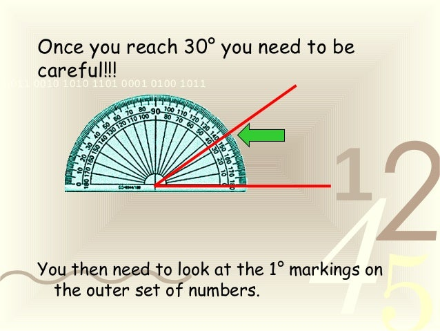 421 0011 0010 1010 1101 0001 0100 1011 Once you reach 30° you need to be careful!!! You then need to look at the 1° markin...
