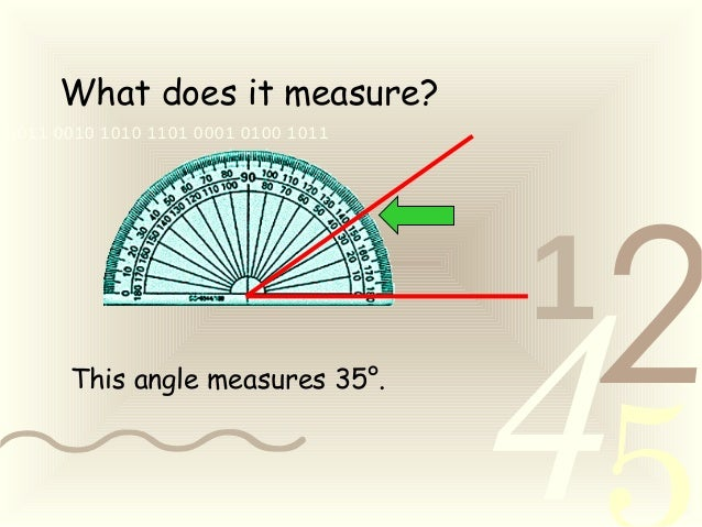 421 0011 0010 1010 1101 0001 0100 1011 What does it measure? This angle measures 35°.