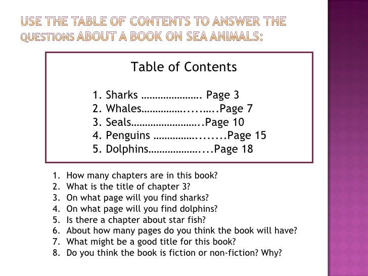 how to add table of contents