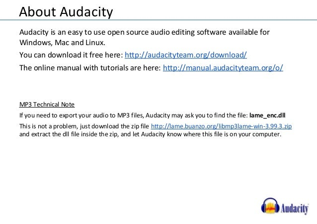Using Audacity for audio recordings