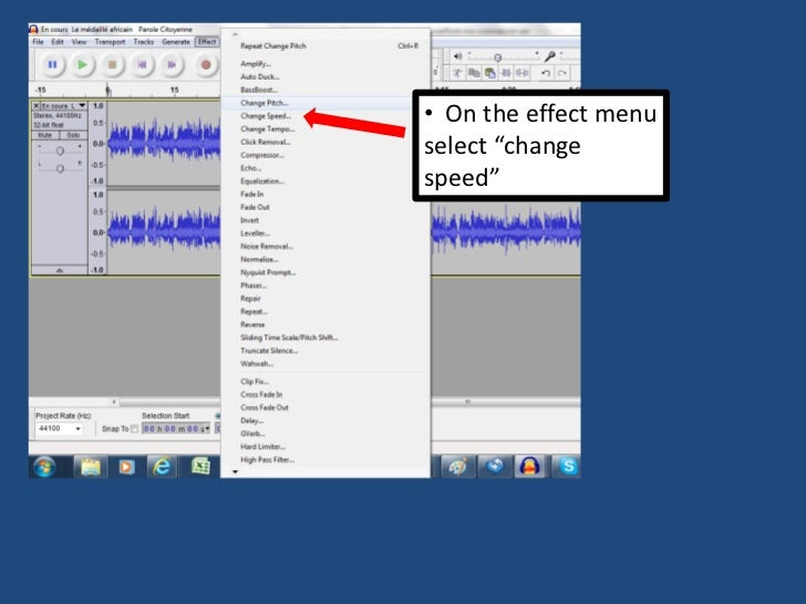 Using audacity to slow down an audio file